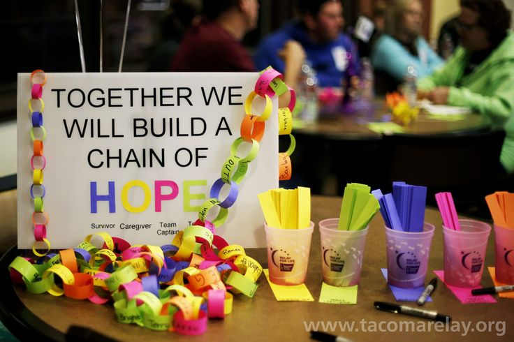 """We wanted to create a visual reminder of just how important each member of our Tacoma Relay Family is to the success of our event, so we created a """"Hope Chain."""" We asked each Relayer to add a link for each of their roles: Survivor, Caregiver, Team Captain, Team Member, Leadership Team. We will bring the chain to each pre-relay meeting, rally, workshop and Relay to repeat the exercise. We HOPE by Relay day our chain will reach around the track."""