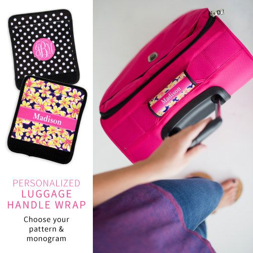 Suitcase Luggage Handle Wrap easy grip, Customized with Initials for easy location, Spot Your BAG Luggage Strap