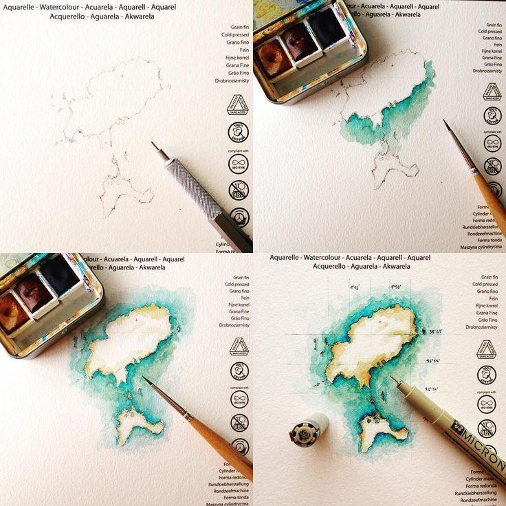Insel Aquarell Kartenkunst Aquarell Aquarellfarben