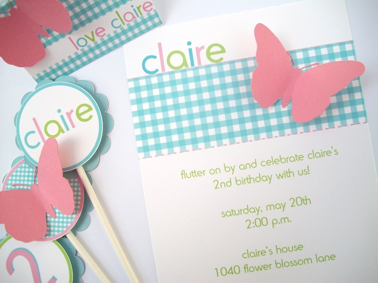 Plaid Pink & Blue Butterfly Invitation