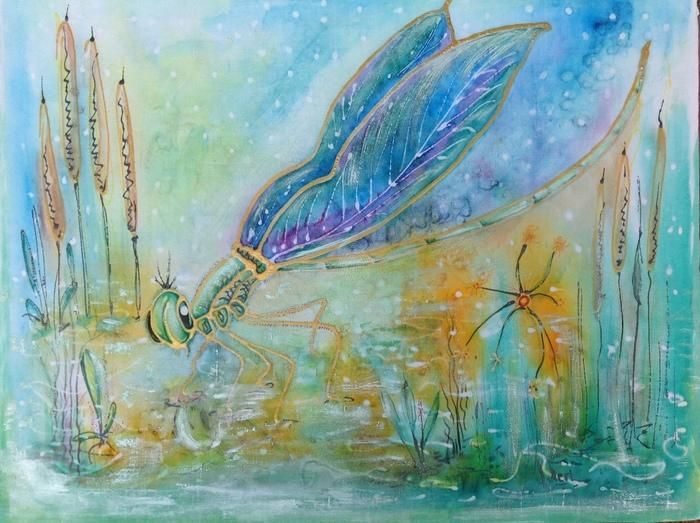 """Dragonfly "" by Meri Andric. Paintings for Sale. Bluethumb - Online Art Gallery"