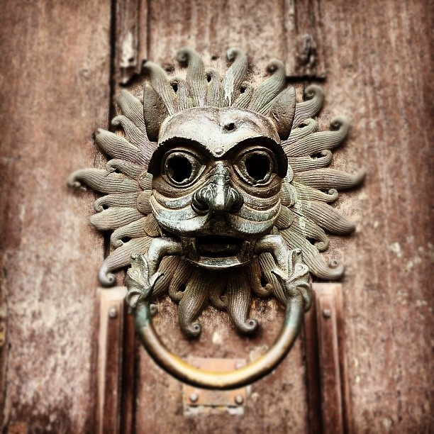 Durham Cathedral - an amazing knocker!    Traditionally those seeking sanctuary within the cathedral were granted it if they made it to the Cathedral door and placed a hand on the lions head.