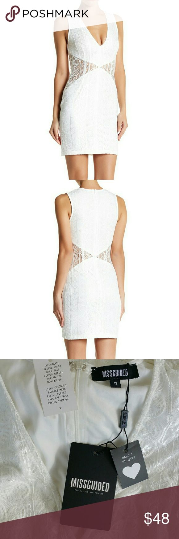 """NWT, Missguided White Cutout Lace Mini Dress Angular cutout details whittle your waist and add plenty of sass to the sweet look of a figure-hugging lace minidress cut with a flattering V-neckline and sunshine-ready sleeveless style.  - V-neck - Sleeveless - Hidden back zip closure - Approx. 35"""" length - Imported Fiber Content 100% polyester Care: Machine wash cold, dry flat Additional Info Fit: this style fits true to size. Missguided Dresses Mini"""