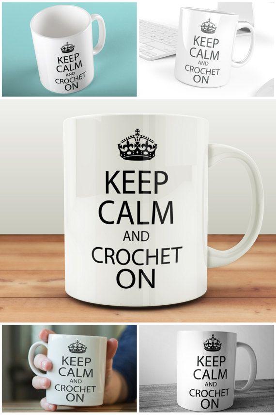 Keep Calm And Crochet On Mug Craft Gift For Crocheter  #keepcalm #muglife #crocheton #crochetgift  #prandski