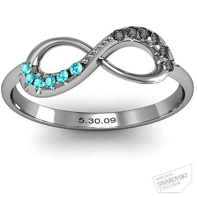 Infinity Accent Ring with hers and hers birthstones and wedding anniversary.  Want. This.