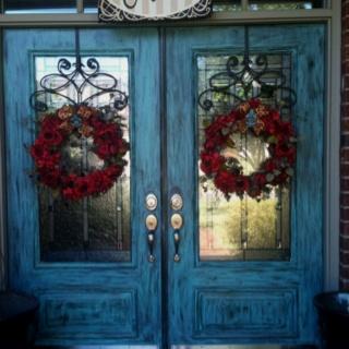 Front doors: The Doors, Doors Melissar, Wreaths Hangers, Front Doors Colors, Blue Doors, French Doors, Double Front Doors, Front Doors Wreaths, Wooden Doors