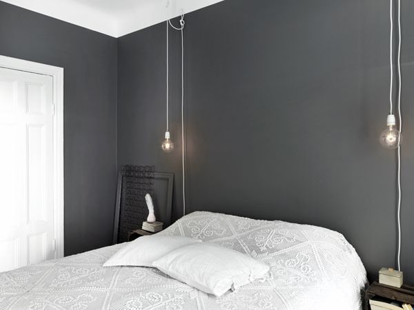 B L O O D A N D C H A M P A G N E . C O M: grey and white bedroom  (What's that on the night table? Just asking...)