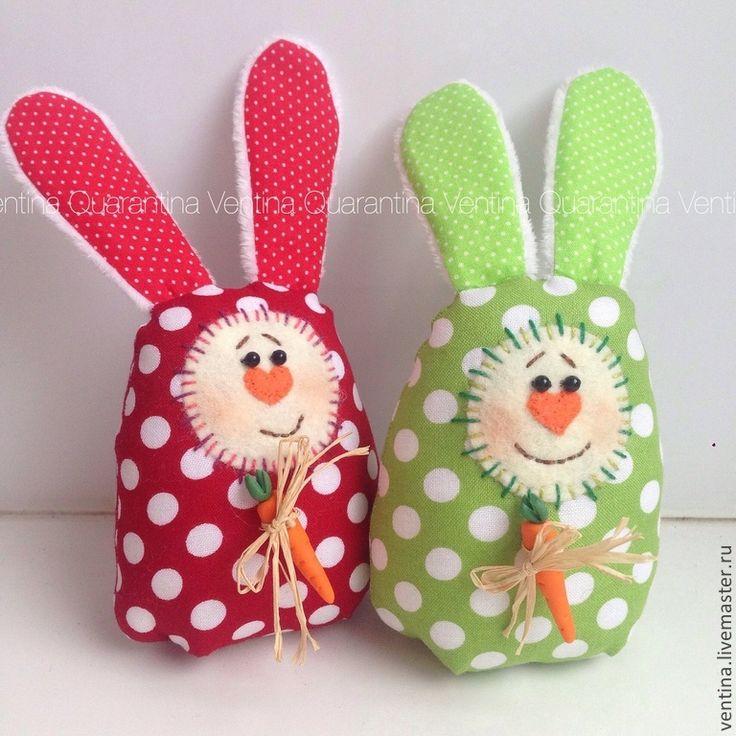Купить Пасхальные зайцы с морковкой - разноцветный, заяц, заяц игрушка, кролик, пасхальный сувенир