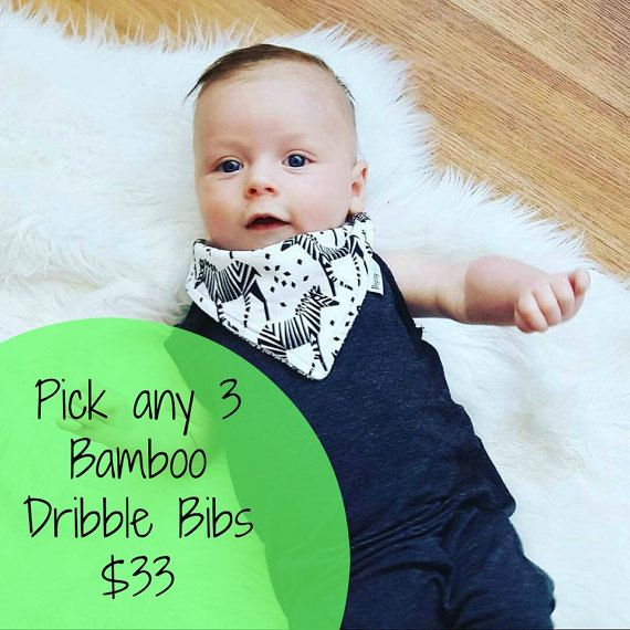 Pick your own set of 3 Bamboo Bandanna Dribble Bibs by BugseyBee