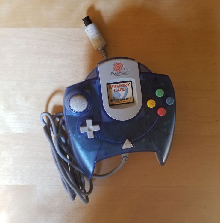Official CLEAR BLUE Sega Dreamcast Controller w/  Matching BLUE MEMORY CARD