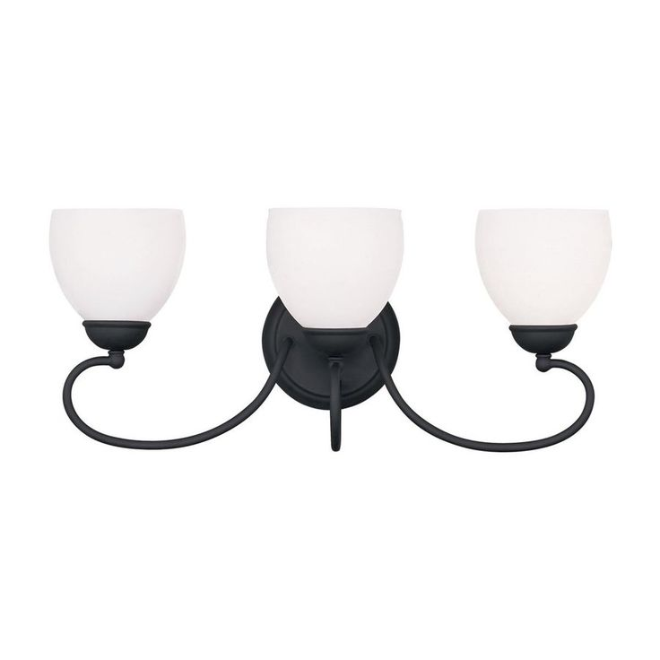 shop livex lighting 3 light brookside black bathroom vanity light at
