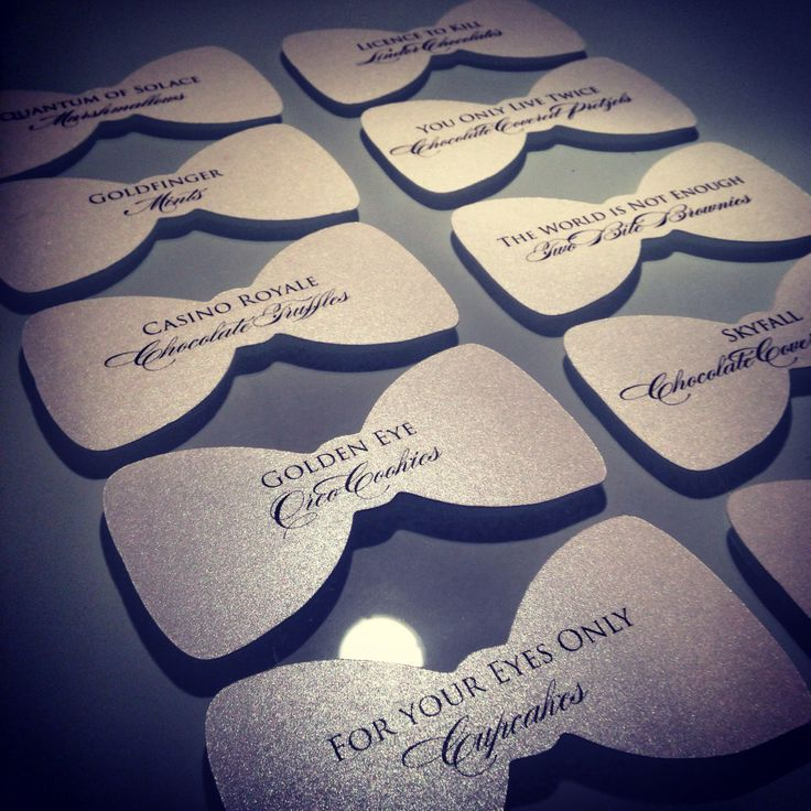 Papier Luxe - Dessert Table Tags for a James Bond themed engagement party. Pics of matching stationery to follow!