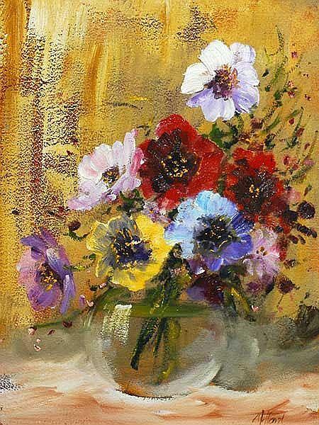 Pieter Millard; SA born 1936; Oil; Still Life Pansies; Signed; 39 x 29