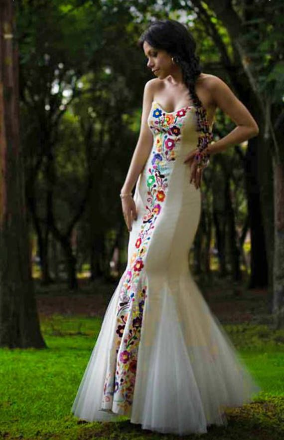 Mexican Wedding Dress. Embroidered Dres for social occasion.