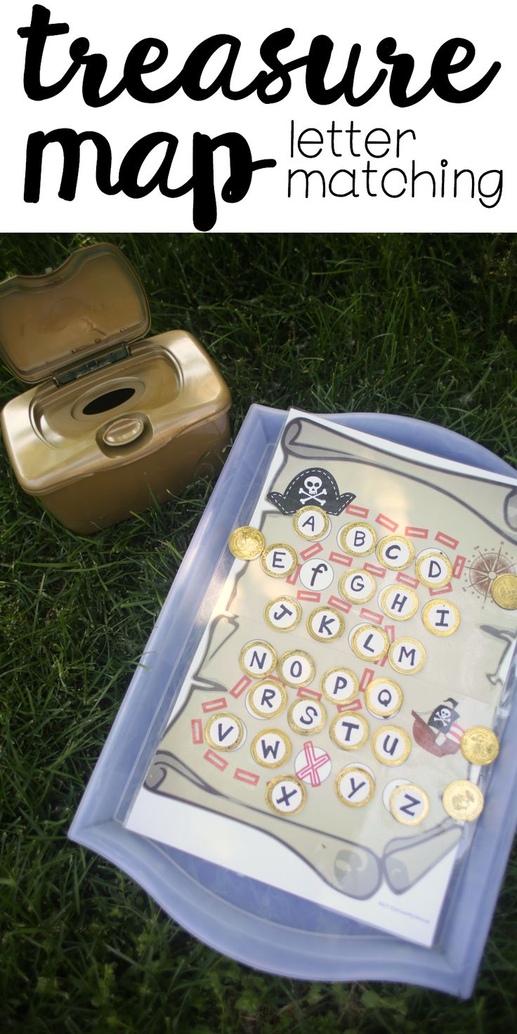 Treasure Map Capital and Lowercase Letter Matching: Free printable pirate-themed activity for preschoolers!