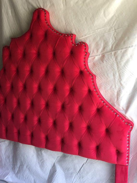 Queen Size Headboard Red Velvet Headboard Tufted Headboard Queen Headboard Red Headboard with Rhinestones Queen Upholstered Headboard