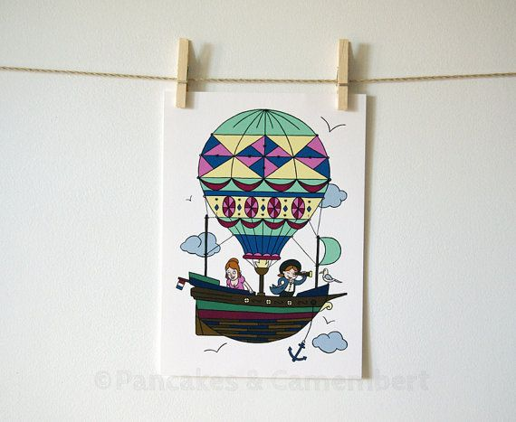 Travel in air balloon - Art print  A4 size 8 by PancakesCamembert, €22.00