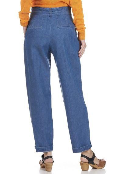 Pantalon taille haute ceinturé en jean Bleu by HARRIS WILSON