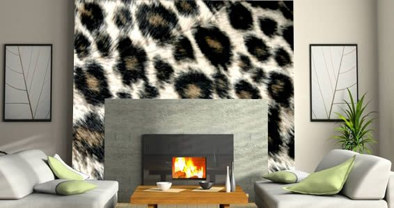 Leopard wall murals - pretty cool! #fireplace #livingroom decor