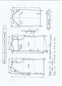 Блуза схема моделирования с открытием и средним воротником размер 44.