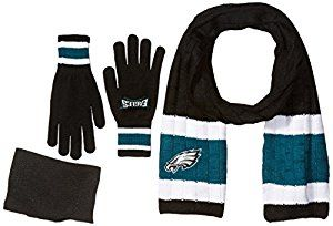 Amazon.com : NFL Philadelphia Eagles Adult Scarf & Glove Gift Set, One Size, Black : Sports & Outdoors