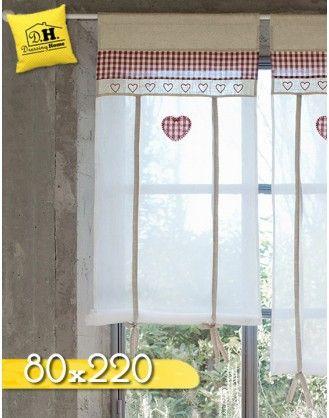 Tenda finestra Country chic Blanc Mariclo 80 x 220 cm Colore Beige / Rosso / Bianco