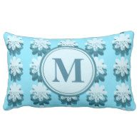 Blue Snowflake Pattern Throw Pillow