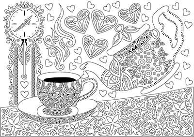 Cup of tea Free Coloring Page