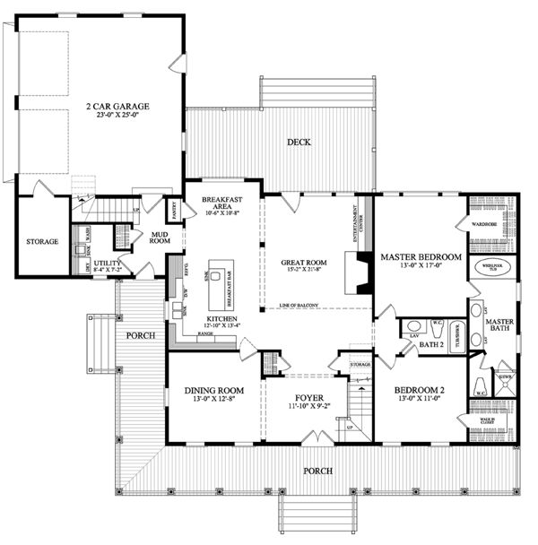 First Floor Plan Of Cottage Country Farmhouse Traditional