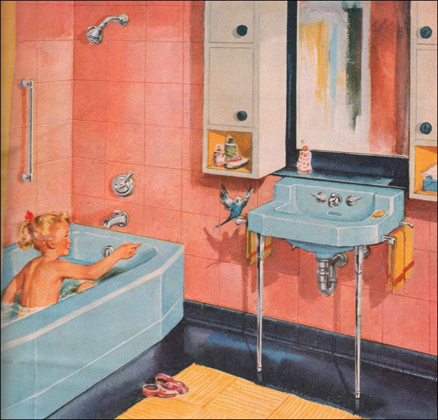 33 best the 1950 39 s bathroom images on pinterest 1950s for Salmon bathroom ideas