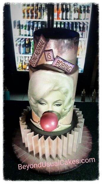 Marilyn Monroe Cake...  The Bombshell Beauty Blows a Bubblegum Bubble...  Entirely Edible!  Gelatin Bubble, Fondant Pearls, Enhanced / Modified / Painted Edible Images, Wafer Paper Dress Ruffles...  Created by www.BeyondUsualCakes.com