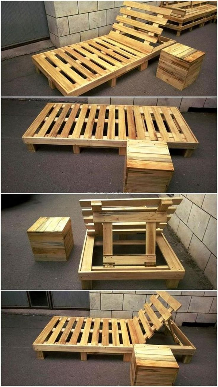 Here we see some tricky pattern in this pallet wood upcycled sun lounger. We have made it with an intention to make it a multi purposed wooden furniture item. So its portable back could be removed to make it a wooden room bed that would be an ideal single bed.