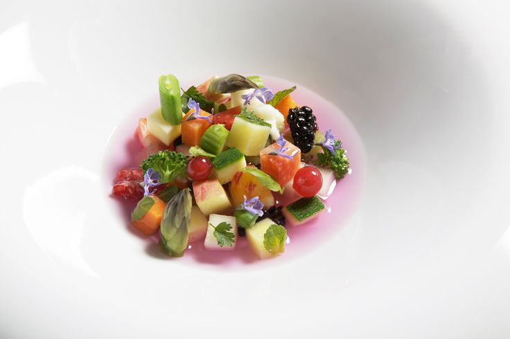 Vegetable and fruit soup with 10 spices. #vegetable #fruit #spices #chef #villafeltrinelli #grandhotel #colors #healthy #starchef #lakegarda