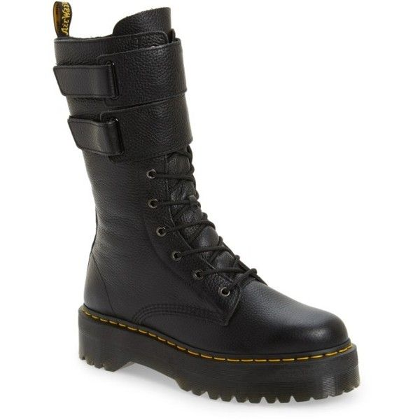 Women's Dr. Martens Jagger Combat Boot ($225) ❤ liked on Polyvore featuring shoes, boots, black leather, leather military boots, leather army boots, black leather shoes, leather combat boots and black shoes