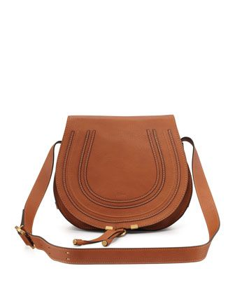 Marcie Horseshoe Crossbody Satchel Bag, Tan by Chloe at Neiman Marcus.