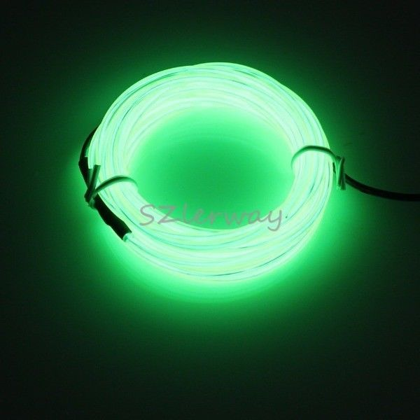 5M Rope Light Green LED Light Strip Lamp EL Wire Cable for Christmas Eve Party