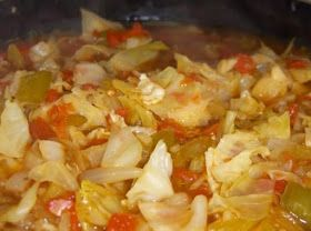 Ingredients:     6 medium onions   2 large green bell peppers   1 large cabbage   1 medium celery bunch   1 or 2 large cans whole ...