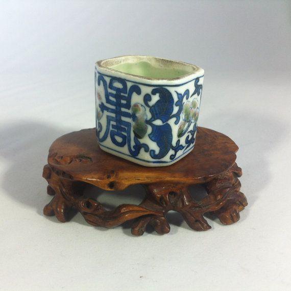 Vintage Chinese  Pair  Bird Feeders   Hand by BluePearEmporium