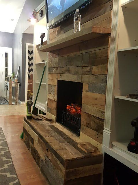 diy pallet wood fireplace, diy, fireplaces mantels, pallet, woodworking projects