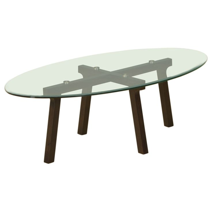 Oval Clear Glass Top Cocktail Table