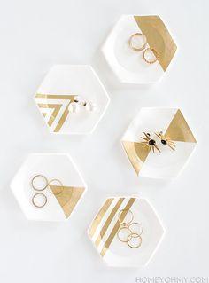 Hexagon Ring Dishes DIY #summer #decor
