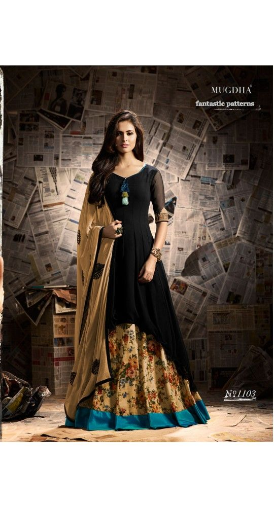 Designer Georgette Black N Beige Salwar Suit With Taj Mahal Motif On Sleeves For Party, Reception , Wedding, Gift, Anniversary