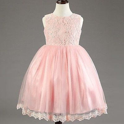 Pink Lace Baptism Dress Christening Dress Holiday Dress
