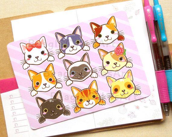 Schattige katten briefkaart geïllustreerde postkaarten