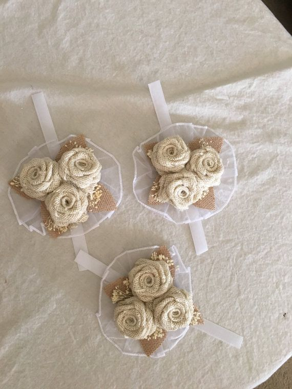 Ivory Burlap Corsage  Rustic Corsage  Corsages  by NaturesDoorway