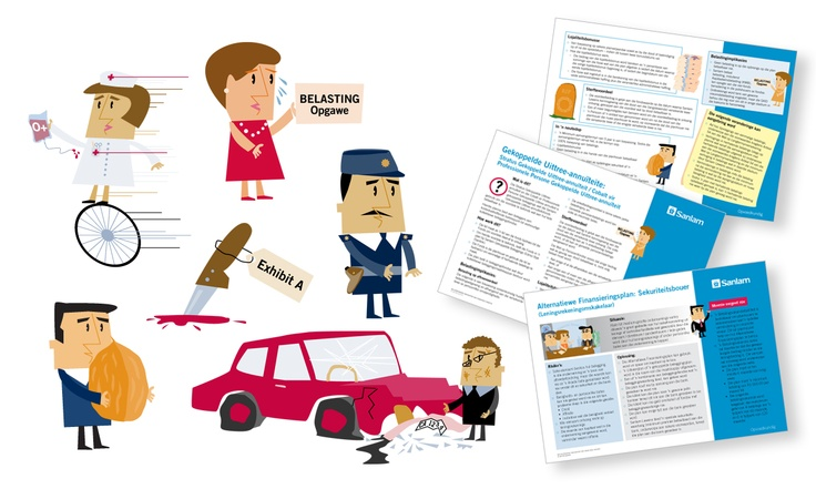 Illustrations for Sanlam fact sheets
