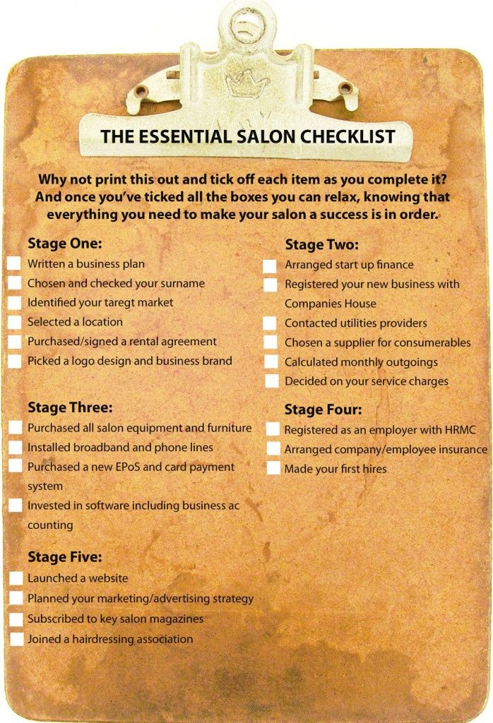 Salon Checklist - Start Up Salon