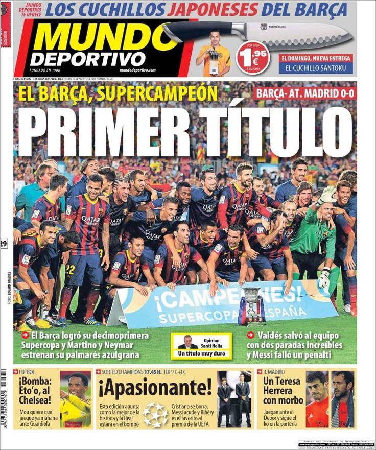 Los Titulares y Portadas de Noticias Destacadas Españolas del 29 de Agosto de 2013 del Diario Mundo Deportivo ¿Que le pareció esta Portada de este Diario Español?