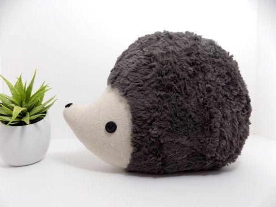 Hedgehog pillow plush in pewter grey/brown, hedgehog stuffed animal toy, woodland nursery decor hedgehog