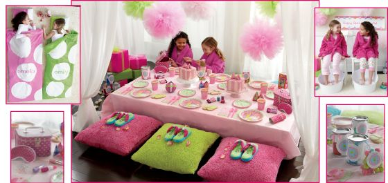 spa sleep over birthday party - calling all girly girls: here's a pampering party for you and your friends. set the scene with a personalized banner and fuzzy pillows, then add goodies like pink hot chocolate and pancakes, plus creative games to help everyone get to know each other. with so much fun to be had, there won't be time to sleep!